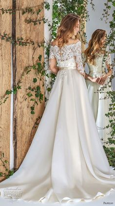 528797e3c3177 papilio 2018 bridal three quarter sleeves off the shoulder heavily  embellished bodice romantic a line wedding dress lace back chapel train bv  -- Papilio ...