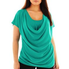 Design History U-Neck Pleated Top - Plus - jcpenney
