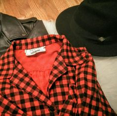 "Vintage deadstock I.IMAGNIN plaid flannel dress! What a find!!  Full length red plaid flannel dress from the early 90's/late80's. Still has the original tags! This baby retailed for $70 then,  making this dress a couple hundred retail in today's dollar.  You can wear this to festivals unbuttoned with shorts or fully buttoned with boots and a hat. We like imagining it with a heavy leather jacket,  heeled booties and your favorite fedora . Shoulder-15.5"", waist-15"", arm-23.5, chest-20.5, 48""…"