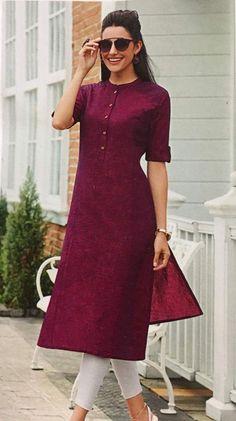Silk Kurti Designs, Simple Kurta Designs, Fancy Blouse Designs, Kurta Designs Women, Kurti Designs Party Wear, Long Kurta Designs, Latest Kurta Designs, Salwar Designs, Casual Indian Fashion