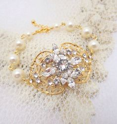 Gold bridal bracelet Pearl bracelet Gold filigree by treasures570, $70.00