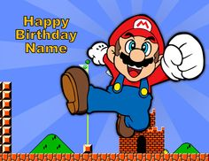 Vintage Retro Super Mario Brothers Image Cake Topper Sugar Sheet 1/4 sheet size Personalized. $7.99, via Etsy.