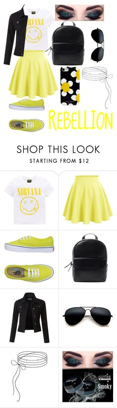 """Rebellion Yellow"" by nikkilynnc ❤ liked on Polyvore featuring Nirvana, Vans, LE3NO and Marc Jacobs"