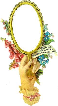 Victorian Hand with Mirror Frame / Label ~ Zibi Vintage Scrap Decoupage Vintage, Vintage Ephemera, Vintage Cards, Vintage Paper, Victorian Flowers, Vintage Flowers, Victorian Frame, Vintage Pictures, Vintage Images