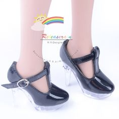 "Clear Stiletto Platform High-Heel T-Strap Shoes Patent Black for 22"" Tonner American Model Dolls"
