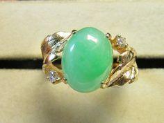 Vintage Estate  14K  Brushed Leaf Translucent Apple Green Jade with Diamond accent Ring by Alohamemorabilia
