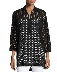 Natori Circles Laser-Cut Blouse, Black, Women's, Size: L