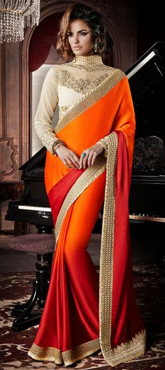 USD 80.27 Orange Georgette Party Wear Saree 47408