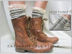 Nordic Lace short boot  lace socks in sage  tweed for combat or cowboy boot socks by Catherine Cole Studio ruffled lace SLX1BL Made  in usa