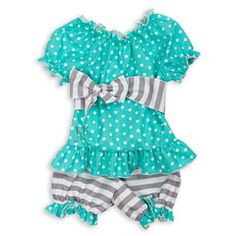 Baby Girl Gray Stripe Turquoise Dot Sash Bloomer Set