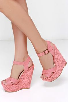Pretty Coral Wedges - Lace Wedges - Wedge Sandals - $29.00