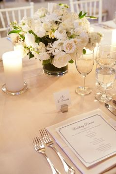 #place-settings, #menus, #centerpiece  Photography: Gayle Brooker Photography - gaylebrooker.com Event Planning + Design: Kristin Newman Designs - kristinnewmandesigns.com/ Floral + Lighting Design: Gathering Floral + Event Design - gatheringevents.com  Read More: http://www.stylemepretty.com/2013/05/14/south-carolina-wedding-from-gayle-brooker-photography/