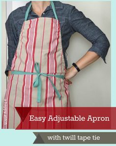 Quick and easy apron Twill Tape Apron with A Happy Stitch - crafterhours