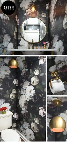 A bold and fun powder room, with a gorgeous and gutsy wallpaper.