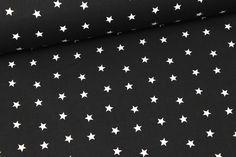 Stoff - tanzende Sterne - Schwarz/Weiß auf alles-fuer-selbermacher.de
