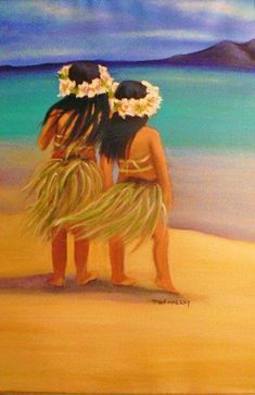 Hawaii Girls Art Print by Tricia Hennessey. All prints are professionally printed packaged and shipped within 3 - 4 business days. Choose from multiple sizes and hundreds of frame and mat options. Hawaiian Girls, Hawaiian Decor, Hawaiian Art, Hawaiian Legends, Hawaiian Fashion, Hawaii Painting, Painting Of Girl, Painting Canvas, Vintage Hawaii