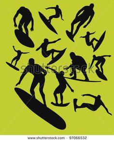 Surfer Silhouette Stock Vector 97066532 : Shutterstock
