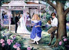 Paula Vaughan Rose Of Sharon, Wedding Art, Wedding Album, Christmas Scenes, Victorian Art, Pictures Of People, Cross Stitching, Painting Inspiration, Garden Art