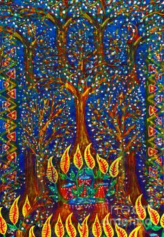"""""""Trees In The Night With Illusion"""" by Mariateresa Sala Picture Naif Gallery"""
