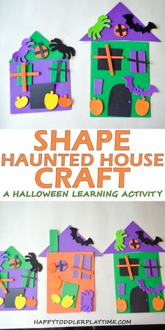 Shape Haunted House Craft - HAPPY TODDLER PLAYTIME Shape Haunted House is a fun and easygoing set up educational Halloween craft your toddler or preschooler will enjoy. Its a great way to combine learning shapes and gluing! Art Halloween, Halloween Crafts For Toddlers, Toddler Crafts, Halloween Themes, Preschool Activities, Halloween Labels, Halloween Stuff, Halloween Pumpkins, Halloween Crafts For Kindergarten