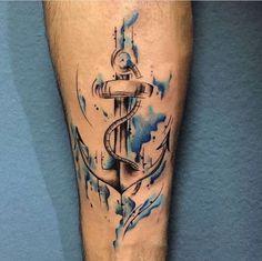 tatuagem, masculina, homem, braço, âncora