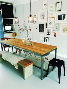Don't like the undercarriage but like wood and color Of the tafelblad Table Decor Living Room, Dining Room Design, Dining Room Table, Home Decor Furniture, Diy Home Decor, Lounge Design, Wooden Dining Tables, Inspiration Wall, Home And Deco