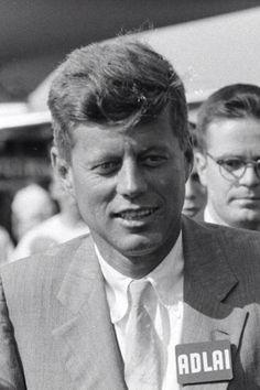 John F. Kennedy supporting Adlai Stevenson who was running for president against Dwight D. Eisenhower, 1950's