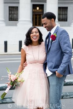 NY Courthouse Wedding; African American; Natural Hair; Blush Wedding Dress