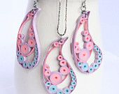 Quilled earrings and pendant