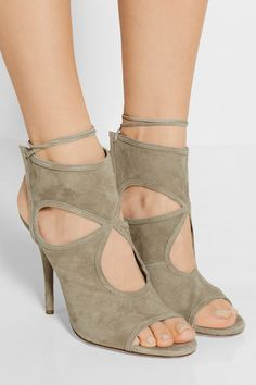 Covered heel measures approximately 105mm/ 4 inches Mushroom suede Ties at ankle Designer color: Khaki Green Made in ItalySmall to size. See Size & Fit notes.