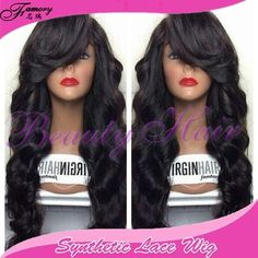 Synthetic loog body wave lace front wig for african american woman ,with bangs swiss lace wig 12-28inch natural color 150%