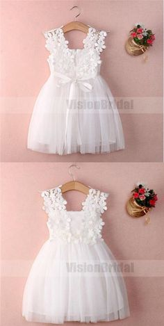 White Sleeveless Lace A Line Flower Girl Dresses Short Littl.- White Sleeveless Lace A Line Flower Girl Dresses Short Little Girl Dresses - Cute Flower Girl Dresses, Lace Flower Girls, Little Girl Dresses, Girls Dresses, Dresses Dresses, Flower Girl Dress Patterns, Wedding Flower Girls, Little Girls White Dress, Lace Dress Pattern