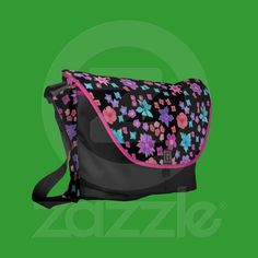 Flower Power Black Pink Orange Messenger Bag | Zazzle.co.uk