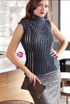 Вязание топа спицами Sheer Pinstripes Tank. Vogue Knitting, Holiday 2013. Дизайнер: Christina Behnke