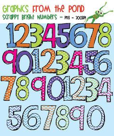 FREE Scrappy Bright Number Clipart Super Pack!  I LOVE Graphics from the Pond!  Go check out her store on TPT-Lots of great clips and freebies!
