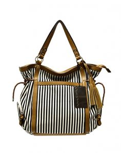 Black and white, with cognac trim tote. A summer essential.  Style #Wildrose