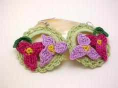 Soft Green Crochet Hoop Earrings with Fuchsia by JagataraArt