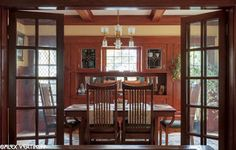 Our dining room after restoration. This woodwork was painted when we bought the house. We made the leaded glass panels for the china cabinet. Laurelhurst Craftsman Bungalow: Alex Vertikoff's Photos