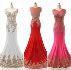 White Prom Dresses,Sparkle Evening Dress,Gold Beaded Prom Dresses,Red Prom…
