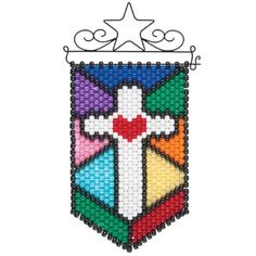 Herrschners®  Stained Glass Cross Mini Beaded Banner Kit
