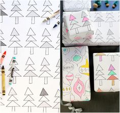 printable gift wrap for kids to color in. such a cute idea!