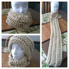 """Button It Up"" Interchangeable Scarf  what a ""rockin' idea"", free pattern  (see 4 more ideas on pattern site)"