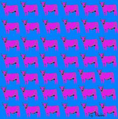 """Pop Art Pink Cows"" by George Pedro"