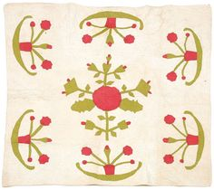 """Ajppliqued crib quilt, hand stitched, quilting with circles, crescents, feathers; 19th century, 47.5 x 49""""; sold at Brunk Auctions in June 2005 for 175 dollars"""