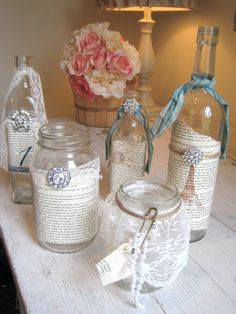 VintageShabby Chic Table Decor Set of 5 by BurlapandLinenCo, $68.00
