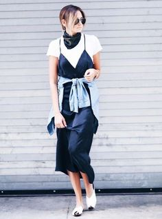 who what wear Slip Dress Outfit, Dress Outfits, Slip Dresses, Dress Shirt, Shirt Outfit, Midi Dresses, Fall Dresses, Estilo Blogger, Blogger Style