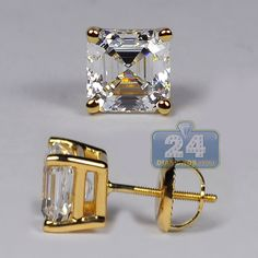 Yellow Gold ct Asscher Swarovski Crystal Elements Womens Stud Earrings in Jewelry & Watches, Fine Jewelry, Fine Earrings, Other Fine Earrings Simple Jewelry, Modern Jewelry, Fine Jewelry, Square Earrings, Women's Earrings, Wooden Earrings, Screw Back Earrings, Affordable Jewelry, Purple Amethyst