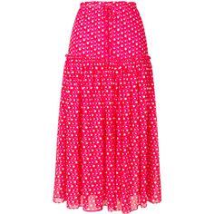 Steffen Schraut long polka dot skirt ($284) ❤ liked on Polyvore featuring skirts, frill skirt, long polka dot skirt, ruffle skirt, polka dot maxi skirt and long maxi skirts