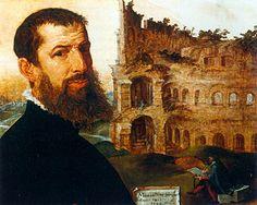 Autoportrait devant le Colisée, 1553, Maerten van Heemskerck