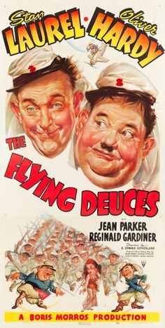 """A movie poster for the Laurel and Hardy movie """"The Flying Deuces."""""""